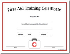 FIRST AID SERTIFICATION